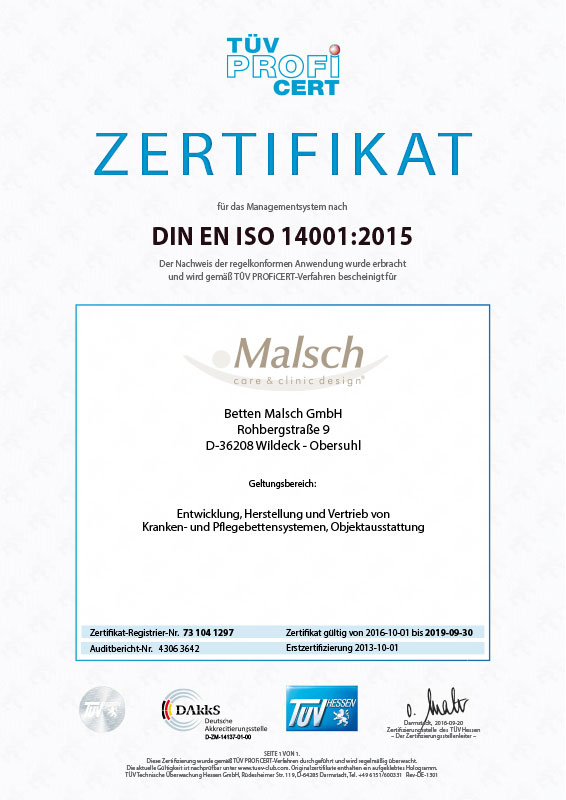 Malsch is gecertificeerd conform DIN EN ISO 14001:2009